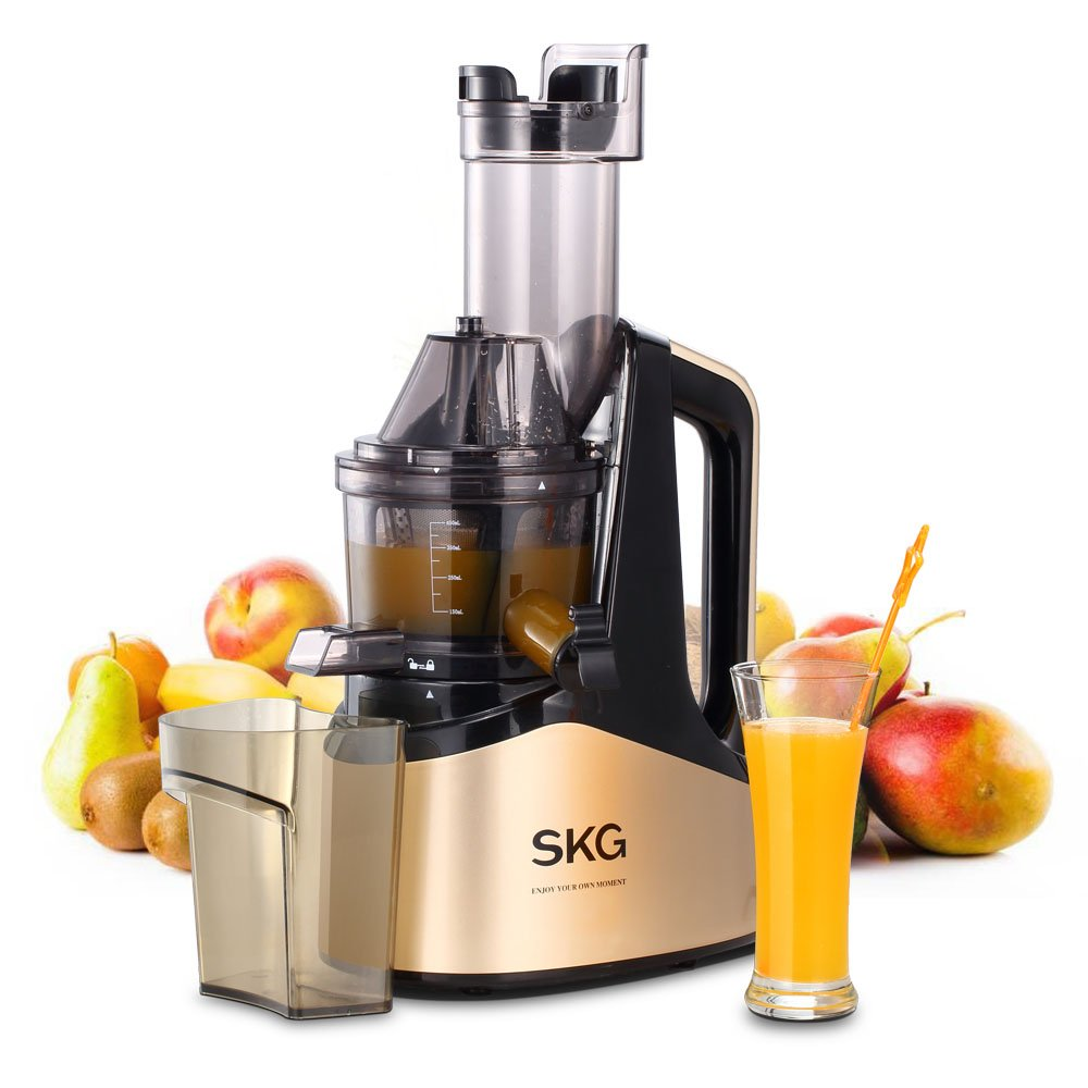 """SKG Slow Masticating Juicer Extractor with Wide Chute (240W AC Motor, 43 RPMs, 3"""" Big Mouth) Anti-Oxidation Lower Noisy - Vertical Masticating Cold Press Juicer-Champagne"""