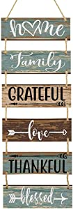 Vintage Wooden Home Sign for Wall Front Door Indoor Outdoor Colorful Large Rustic Farmhouse Wall Home Decor Sign Hanging Wood Wall Decoration 40 x 12 Inches