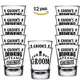 Shop4Ever Groom and Groom's Drinking Team Member Shot Glasses ~ Bachelor Party Favors ~ (Shot Set of 12, 1.5 oz.)