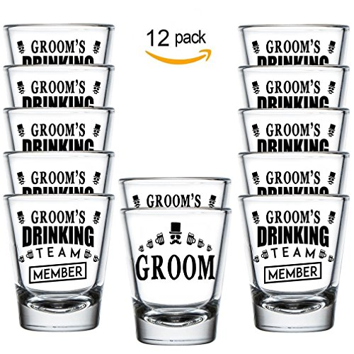 Shop4Ever Groom and Groom's Drinking Team Member Shot Glasses ~ Bachelor Party Favors ~ (Shot Set of 12, 1.5 - Bachelor Favors Party