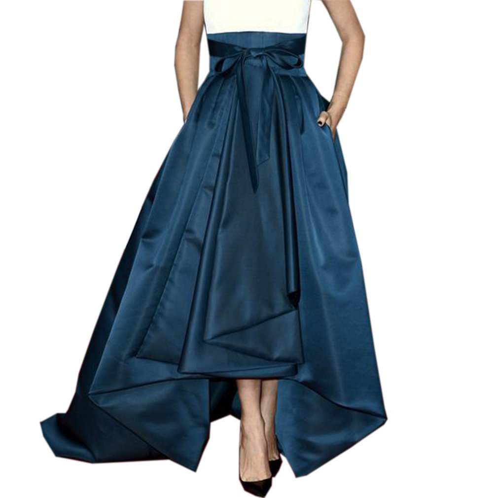 Lisong Women Floor Length High Low Bowknot Belt Satin Party Skirt 8 US Peacock Blue