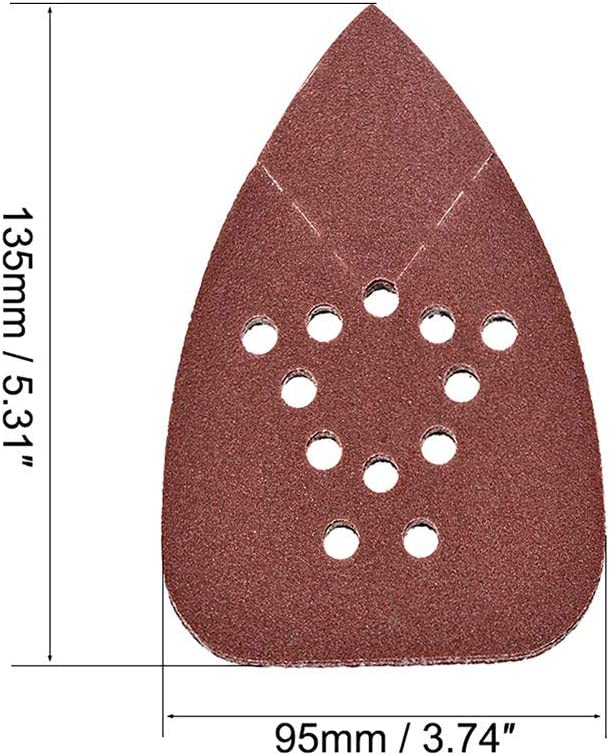uxcell 5pcs Triangle Detail Sanding Sheets Sandpaper for Replacement Hook and Loop Sander Assorted,240grits 12 Hole