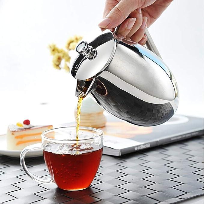 BaoYPP Cafetera de émbolo Hogar de Acero Inoxidable Cafetera Francesa Filtro cafetera de Filtro Copa Mano Pot Tomar Decisiones más rápidas café Fresco (Color : Silver, Size : 350ml): Amazon.es: Hogar