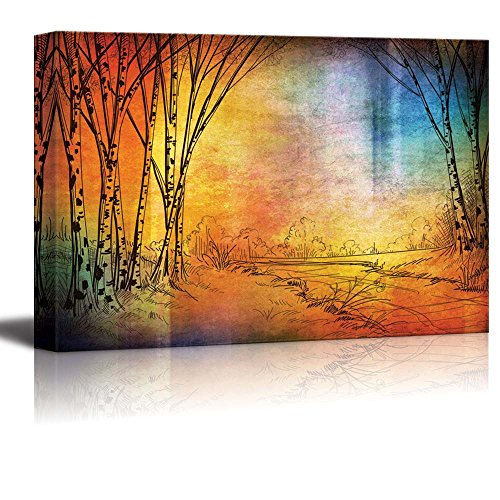 Sketch of Trees in a Forest with a Colorful Texture on Top