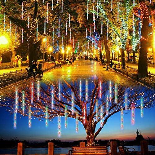 Lalapao Outdoor Christmas String Lights Solar Powered LED Meteor Shower Rain Lights Falling Raindrop Light 8 Tubes 288 LED Cascading Fairy Lights for Xmas Tree Garden Wedding Party Decor Multi-color