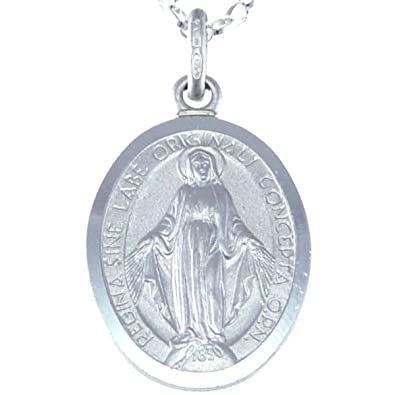 Sterling Silver Miraculous Medal Necklace (20mm) with 18