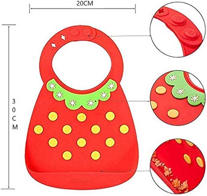 Bavaglini Impermeabile facile da pulire morbido e comodo Collare giallo//Fragola rosso 2 Bavaglini Silicone QXAE con Tasca Bavaglino neonato Anallergico Antimacchia!