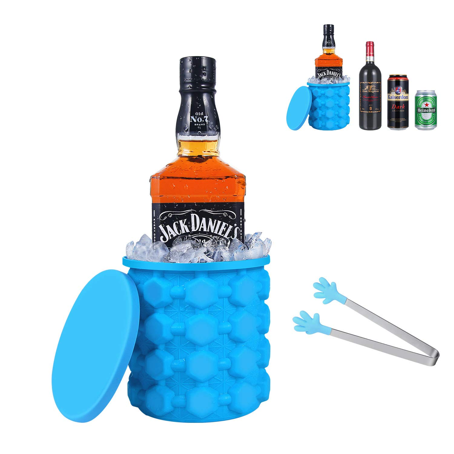 Silicone Ice Bucket,SS SHOVAN 2019 Upgraded Version Oversized Ice Maker with Tongs Beverage Cooler Perfect for Football Matches Cocktail Party Picnics Beach Outdoor(Large)