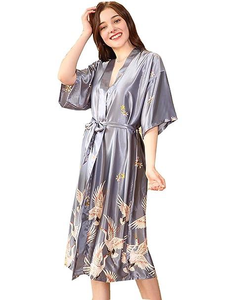 beauty performance sportswear big clearance sale BELLOO Women Silk Satin Dressing Gowns Long Printed Kimono Robes