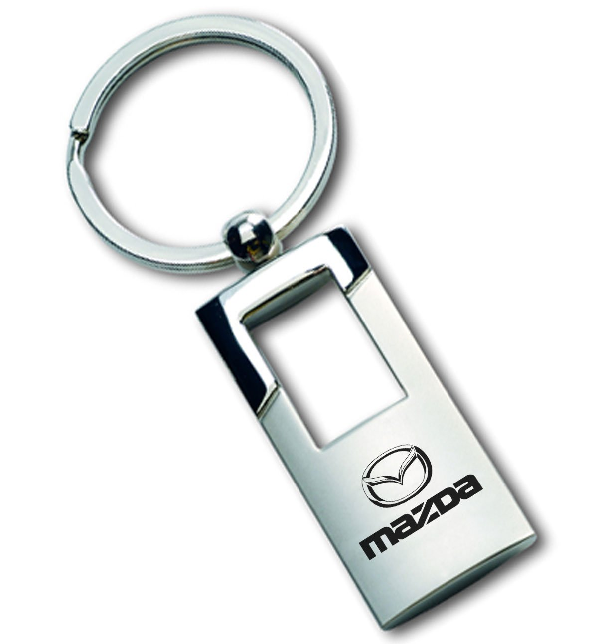 Gregs Automotive Mazda Chrome and Brushed Metal Key Chain Ring Fob with Racing Decal