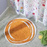 iDesign Doodle Microfiber Round Accent Shower Rug, Bath Mat for Master, Guest, Kids' Bathroom, Entryway, 24' x 24' - Orange and White