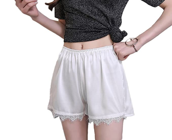 Sleep Bottoms 100% Mulberry Silk Women Shorts Sexy Lace Pure Satin Silk Sleeping Short Pants Free Shipping
