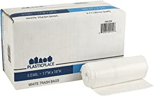 """Plasticplace 4 Gallon Trash Bags │ 0.5 Mil │ White Garbage Can Liners │ 17"""" x 18"""" (250 Count)"""