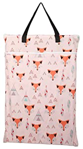 Large Hanging Wet/Dry Cloth Diaper Pail Bag for Reusable Diapers or Laundry (Baby Fox)