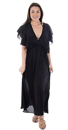 Mesmer Women\'s Ruffled Sheeves V-Neck Chiffon Beach Maxi Dress Plus Size  Evening Dress