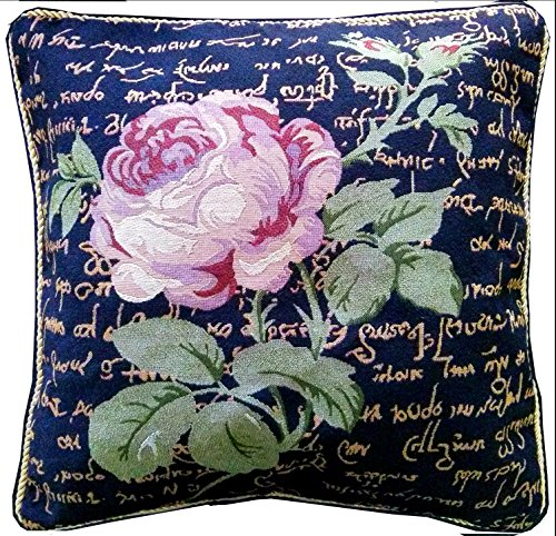Tache Black Vintage Tapestry Pink Rose Floral Cushion Cover - French Country Rustic Midnight Awakening Decorative Accent Throw Pillow Cover - Set of 2 Piece, 18 x 18 Inches - Vintage Rose Design - This pillow cover features a large muted pink rose bloom with flowing leaves and a black background with beige/gold exotic writing Faux Needlepoint Design - made with sturdy durable tapestry material with a braided gold cord around the edges - the back has a solid beige faux suede soft fabric Invisible hidden zipper closure/opening along the edges, allows for easy insertion and removal of pillows - living-room-soft-furnishings, living-room, decorative-pillows - 61n5Vqv2LfL -
