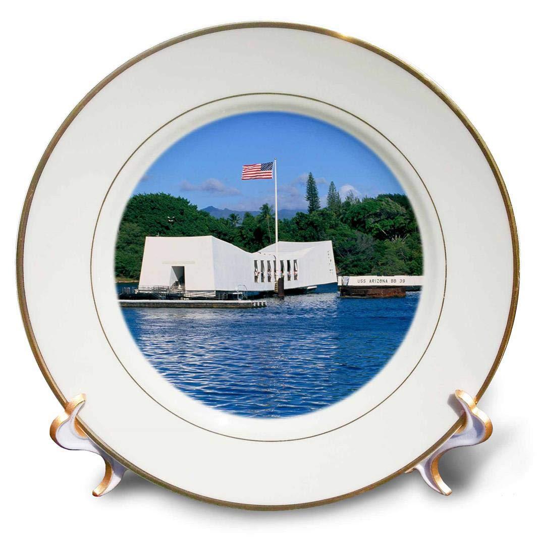 8 3dRose cp/_89547/_1 WWII Arizona Memorial Hawaii,-US12 DPB0116-Douglas Peebles-Porcelain Plate Pearl Harbor