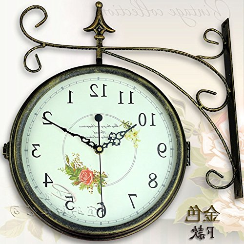 - Y-Hui  Iron Double-Sided Wall Clock Large Living Room Clocks are Two-Sided Clock Electronic Clock in Table 16 Inch, Gold F