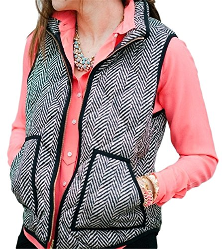 FISACE+Women%27s+Sleeveless+Zip-up+Plaid+Quilted+Vest+Coats+Jacket+%28X-Large%2C+Picture+color%29