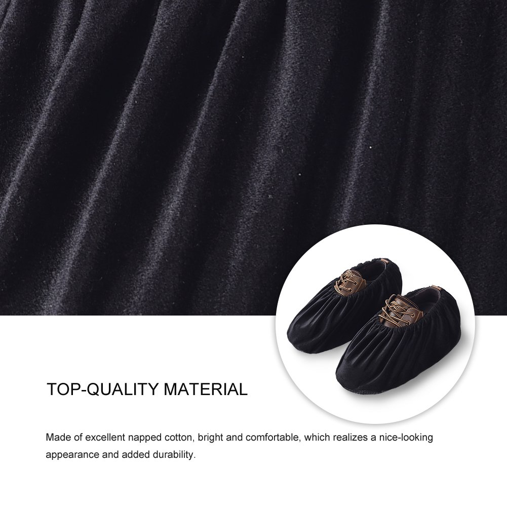 Uarter Reusable Booties Shoe Covers 5 Pairs, Anti Slip Boot Shoe Covers with Elasticity Convenience for Indoor, Contractors and Carpet Floor Protection, Machine Washable, Black by Uarter (Image #5)