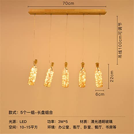 awama restaurante ventiladores de botellas de vidrio Industrial lámpara de cristal dormitorio bar cafe iluminación de