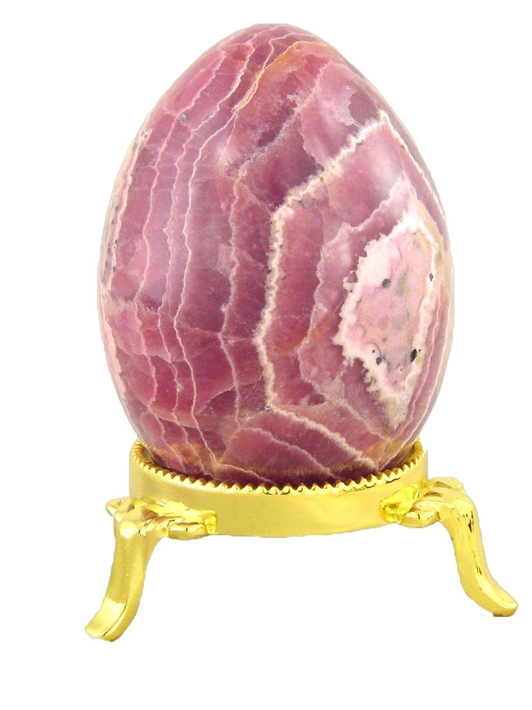Rhodochrosite Stone Healing Egg 74mm x 53mm Reiki Activated Lapidary with Stand