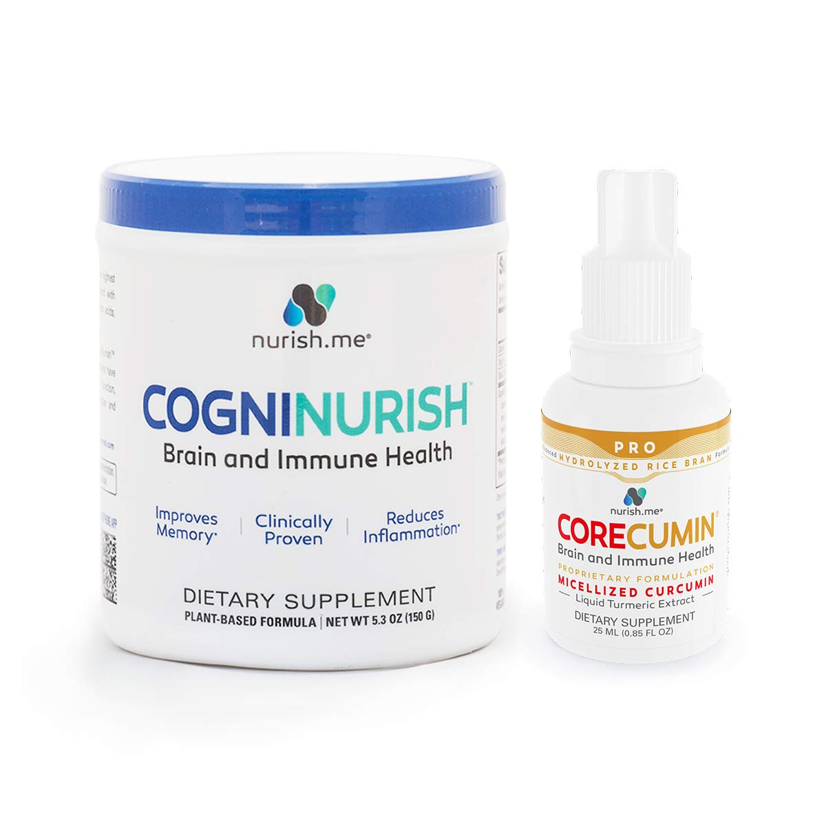 ComboCognition Pro - Complete Brain Food Bundle – CogniNurish Brain Support and Immune System Booster and CoreCumin Pro Anti-Inflammatory Liquid Turmeric Curcumin and Rice Bran Supplement