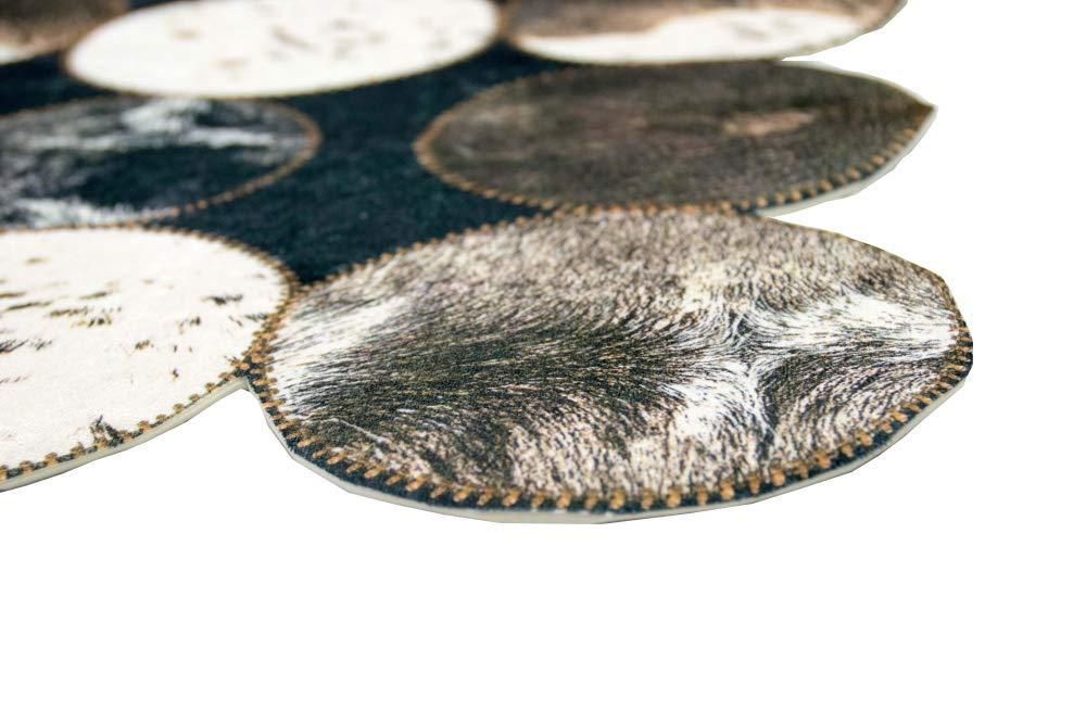 Merinos Kuhfell Teppich Patchwork in Braun Schwarz Creme Größe Größe Creme 160x230 cm 6e5452