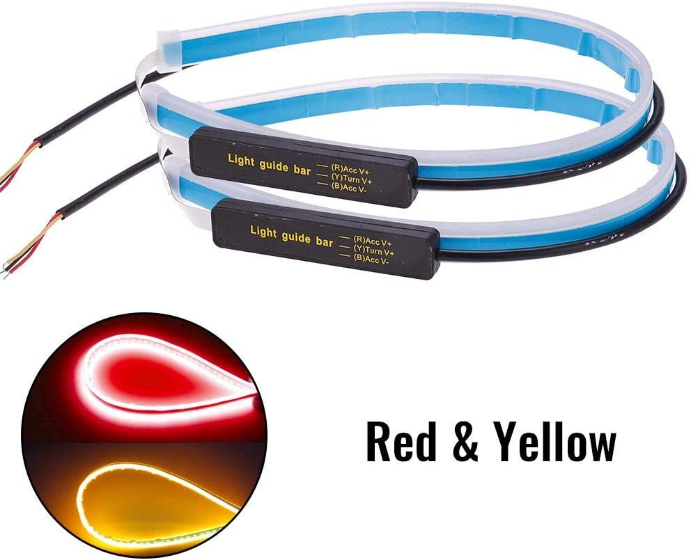 FANMURAN 2Pcs 60cm FlowingCar Soft Tube LED Strip DRL Ultra Thin Turn Signal Lamp Striscia di Marcia Diurna a Doppio Colore