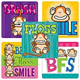 Shaped Brush, Floss, Smile Monkeys Stickers - Doctor Office Giveaways - 100 Per Pack