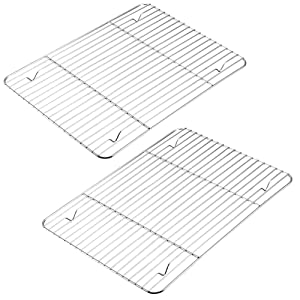 Mokpi Heavy Duty Stainless Steel Baking Rack Oven Safe Cooling Rack, Size 15.2''x11.2'', Commercial Quality Thick Wire Rack (2 Pack)