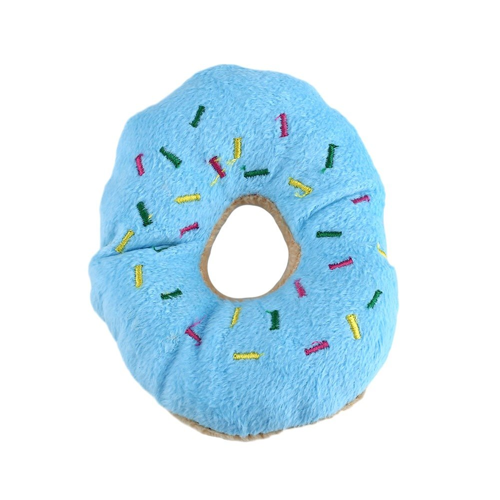 Adarl Funny Chew Throw Toys Cute Donuts Squeaker Squeaky Plush Sound Toys For Puppy Pet Dog Cat