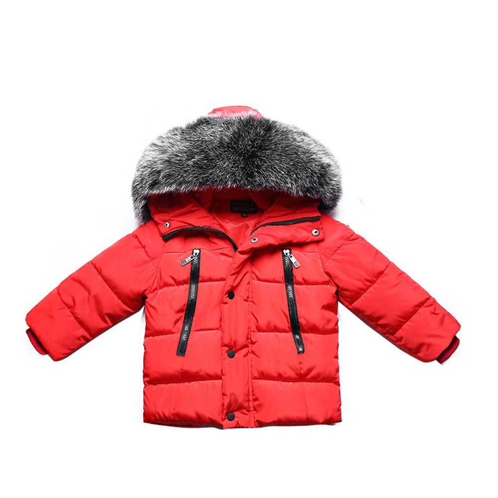 Gaorui Girls Boys Winter Hooded Down Coat Jacket Thick Puffer Coat Kids Warm Faux Fur Outerwear Coat