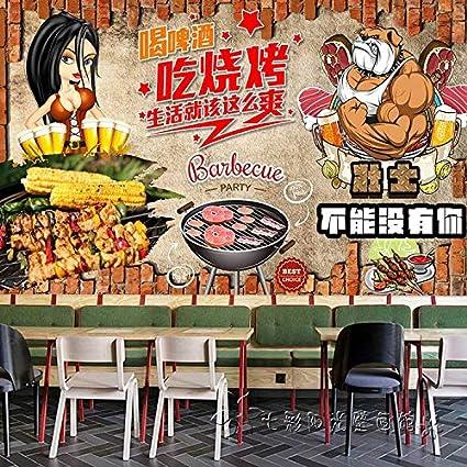 Papel Tapiz Pintado A Mano Graffiti Cerveza Coreana Barbacoa Wallpaper Grandes Murales Snack Grill Restaurante Papel