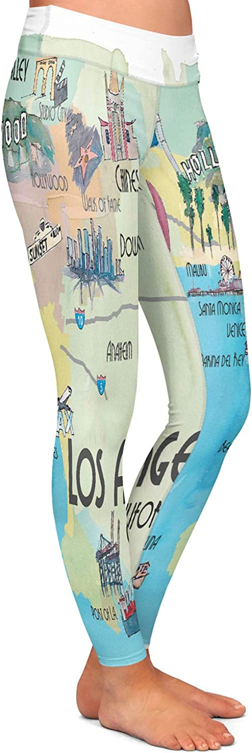 Tourist Los Angeles 2 Athletic Yoga Leggings from DiaNoche Designs by Markus Bleichner