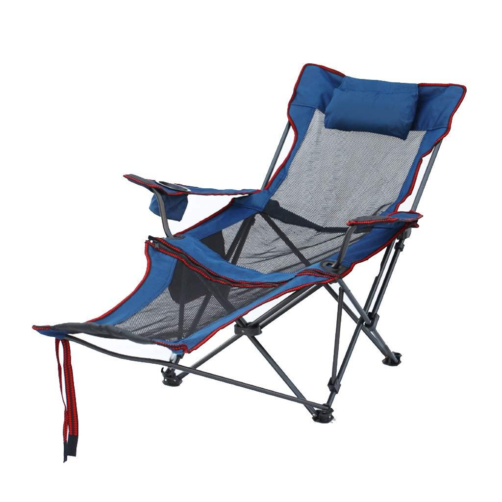 折りたたみ椅子レジャーチェアキャンプチェア 屋外ガーデンチェアポータブルビーチチェア ホームバックフィッシングチェアレイジーランチブレイクチェア 積載量150kg (Color : Blue, Size : 52*175*88cm) 52*175*88cm Blue B07QFR6HQY