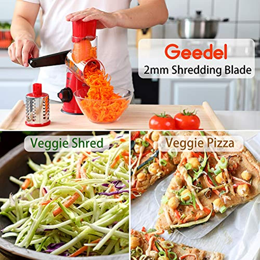 Vegetables Nuts. M-MASTER Rotary Cheese Grater,Efficient Vegetable Mandoline Slicer with 3 Interchangeable Round Stainless Steel Blades,Easy to Clean Rotary Vegetable Slicer for Fruit