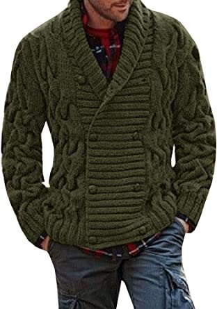 SELX Men Slim Thick Knitted Solid Shawl Collar Cardigan Sweaters