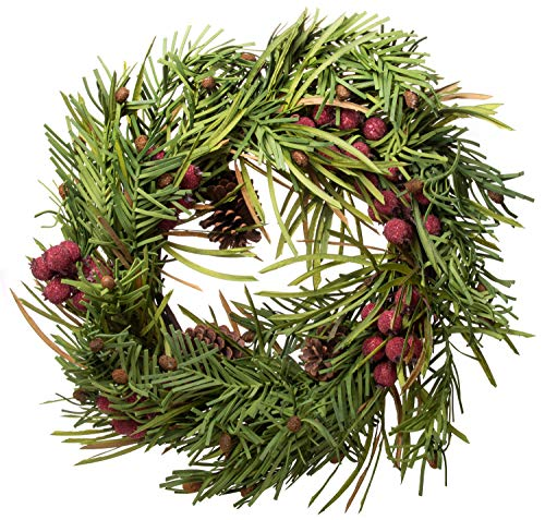 - Artificial Red Berry Pine Cone Wreath - Great Front Door and Wall Winter Christmas Decoration - 22 Inches