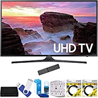Samsung UN65MU6300FXZA 65 4K Ultra HD Smart LED TV (2017 Model) Plus Terk Cut-the-Cord HD Digital TV Tuner and Recorder 16GB Hook-Up Bundle