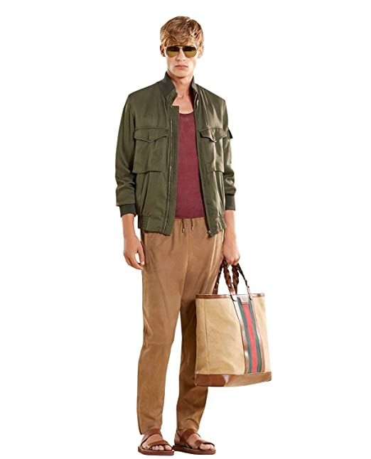 facfcc141b5 Gucci Bomber Military Olive Green Silk Jacket 333620 3356: Amazon.ca:  Clothing & Accessories