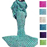 DDMY Mermaid Tail Blanket For Kids Teens Adult Handmade Wave Mermaid Blankets Crochet Knitting Blanket Seasons Warm Soft Living Room Sleeping Bag Best Birthday Christmas gift 74''x35'' Mint Green