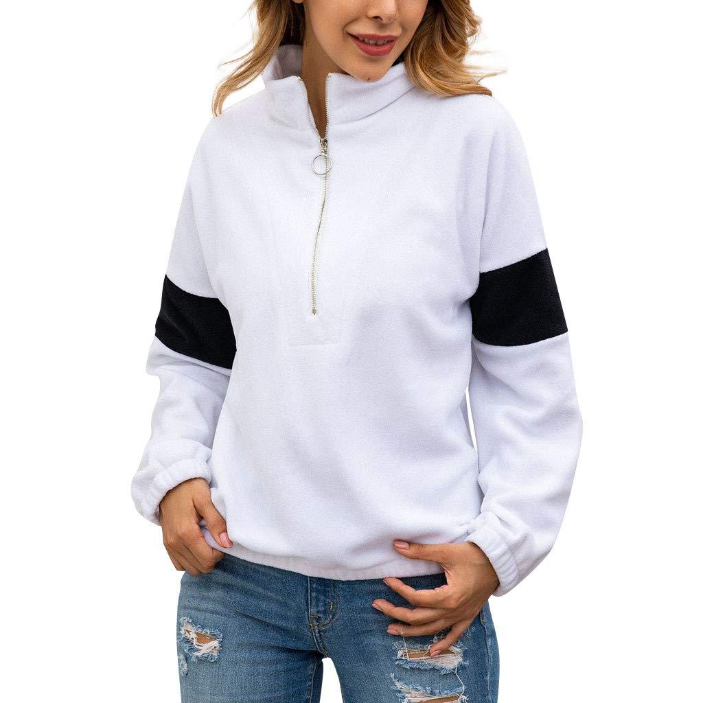 Women's Long Sleeve High Collar Halter Zip Pullover Sweatshirt Faux Fleece Fuzzy Pullover Loose Outwear Coat (White,L) by BNisBM