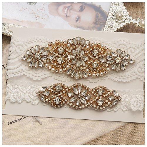 Gold Pearls Ivory Pearls - Yanstar Wedding Bridal Garter Off-White Stretch Lace Bridal Garter Sets With Gold Rhinestones Clear Crystal Pearl For Wedding