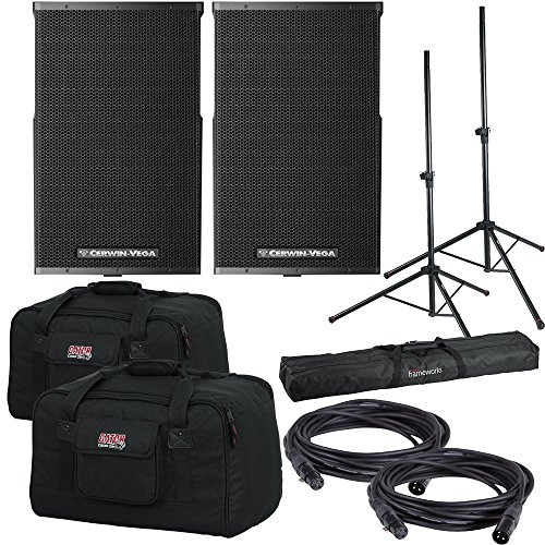 Cerwin Vega CVE-15 Powered 2-Way Speakers w/ Gator Totes & Stands -