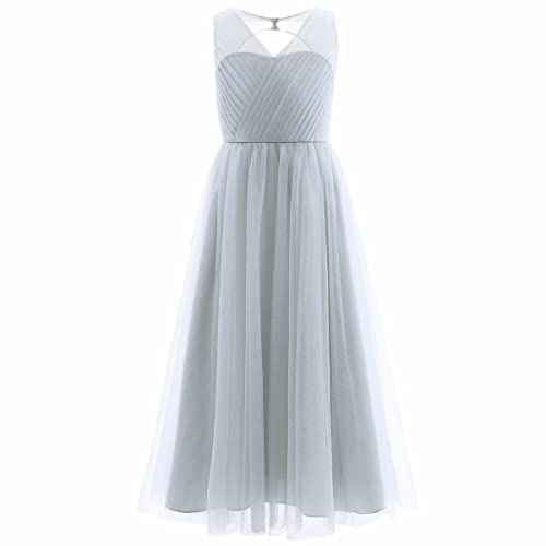 FEESHOW Kids Girls Mesh Cutout Back Dress Wedding Bridesmaid Pageant Party Long Dress