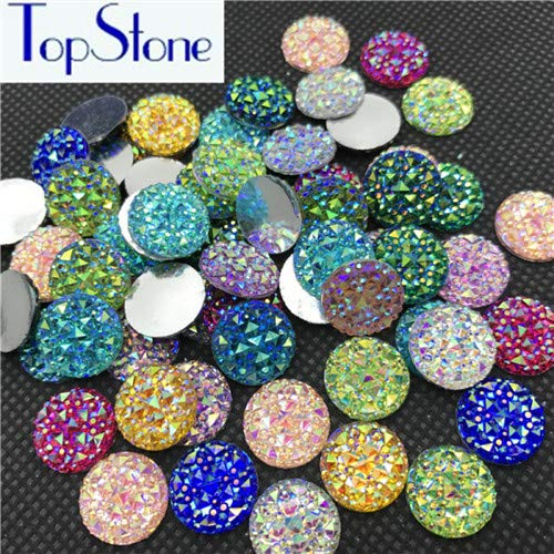Pukido 10,12,14,16,18mm Round Glitter Faux Resin Rhinestones Multi Colors AB Acrylic Flatback Decoden Kawaii Cabochons - (Color: Mix ab, Size: 14mm 100pcs)