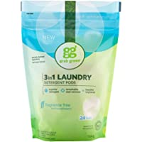 Grab Green Natural 3 in 1 Laundry Detergent Pods, Free & Clear/Unscented, 24 Loads, Fragrance Free, Organic Enzyme…