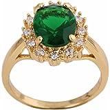 Las mujeres verde Rhinestone incrustaciones chapado en oro cristal cobre anillo vintage regalo