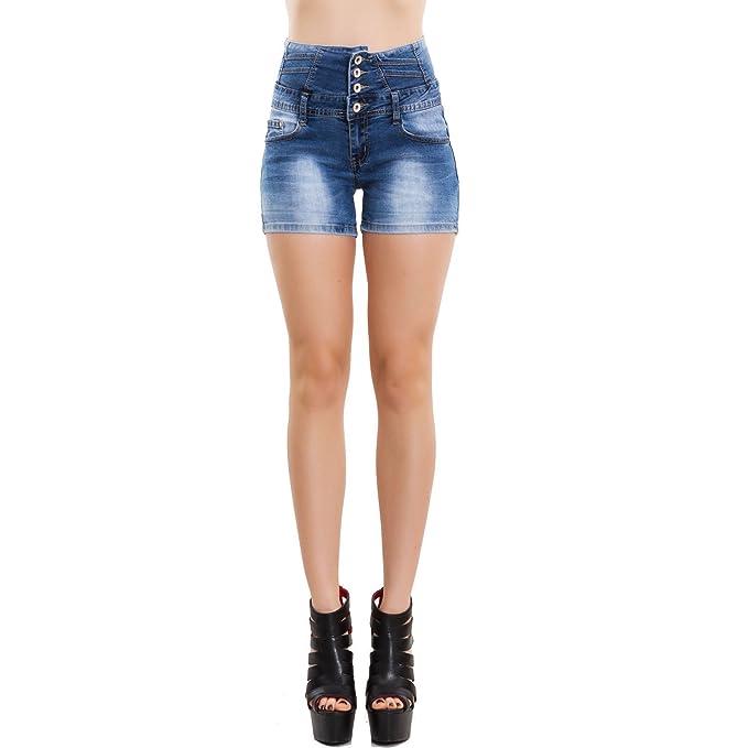c4dc38f34d0d Toocool - Pantaloncini Jeans Donna Shorts Vita Alta Pinup Corti Hotpant  Nuovi DF10041  L